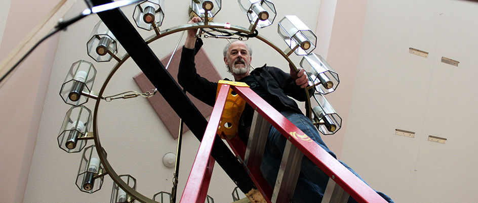 O'Gorman and the chandelier. Photo: Suzanne Ahearne