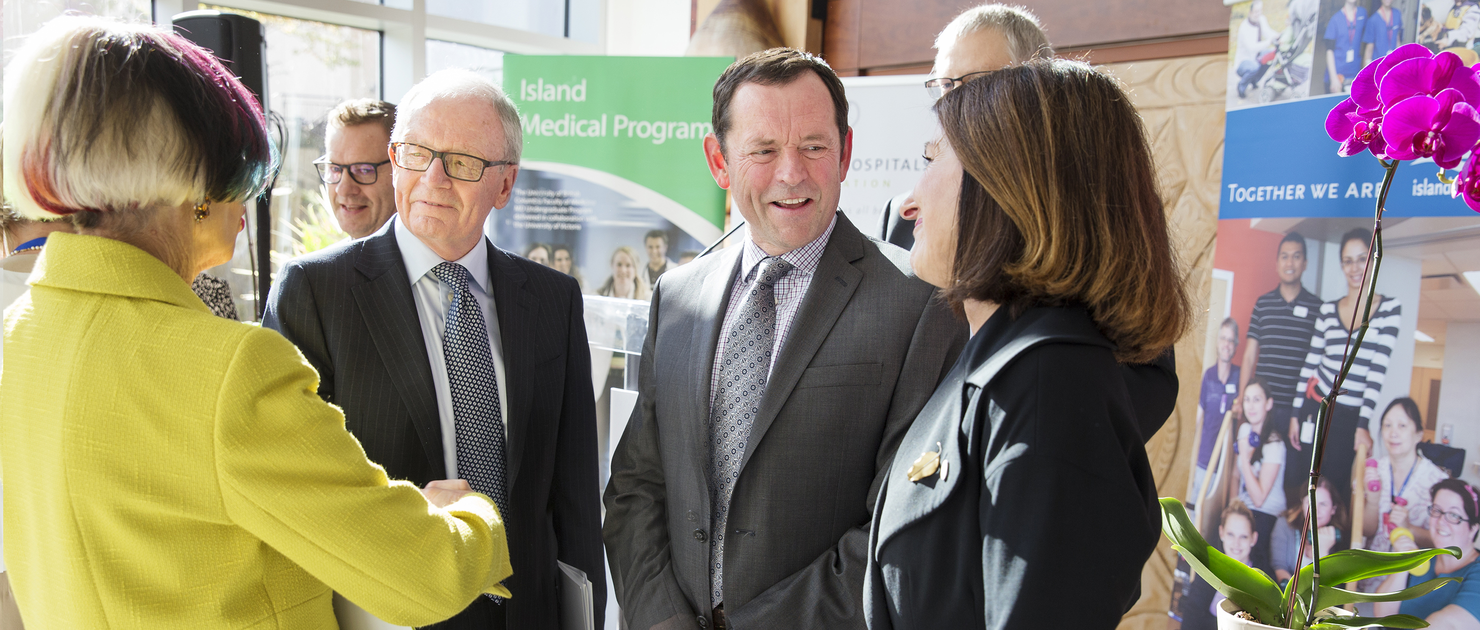 Donor Neil Manning, second from left, talks with UVic President Jamie Cassels, Island Health board chair Leah Hollins and Victoria Hospitals Foundation President Melanie Mahlman after Thursday's announcement of the Cognitive Health Initiative.