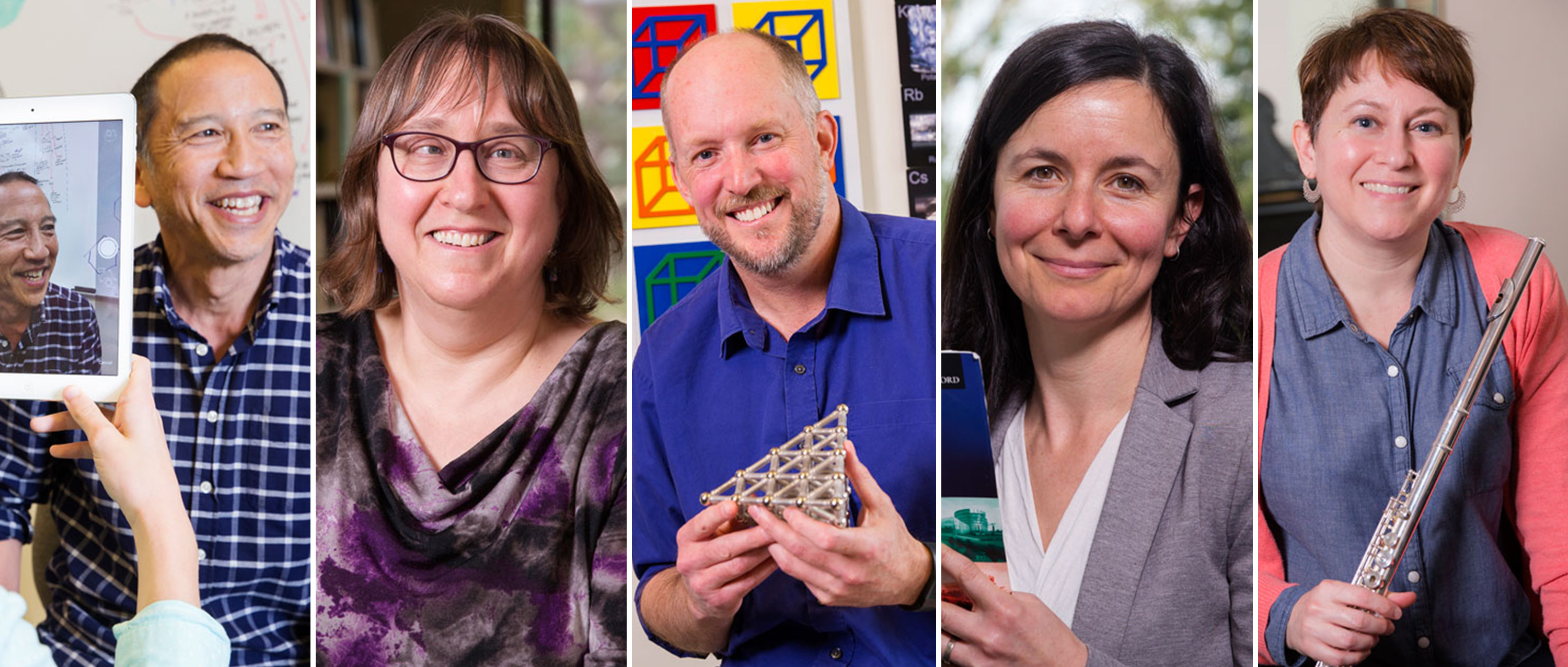 Portraits of five UVic profs