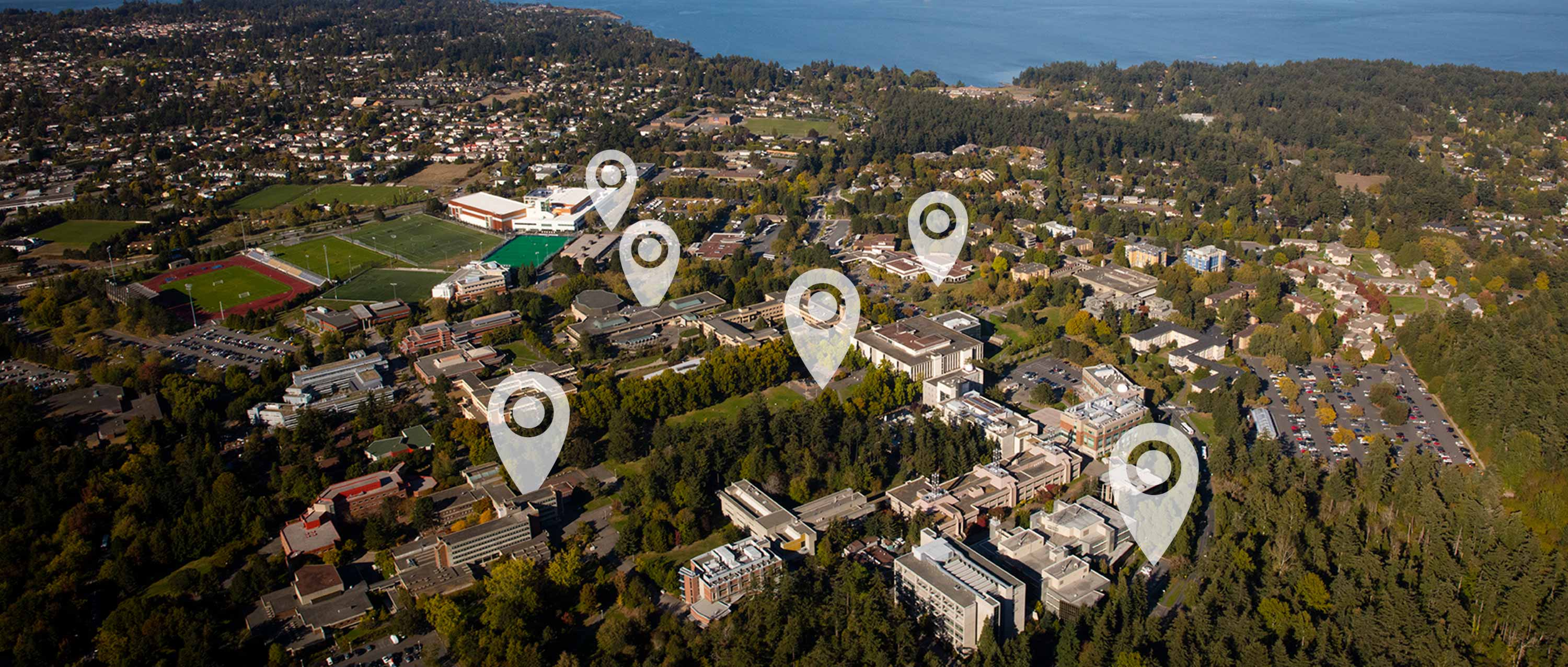 Aerial photo of the UVic campus