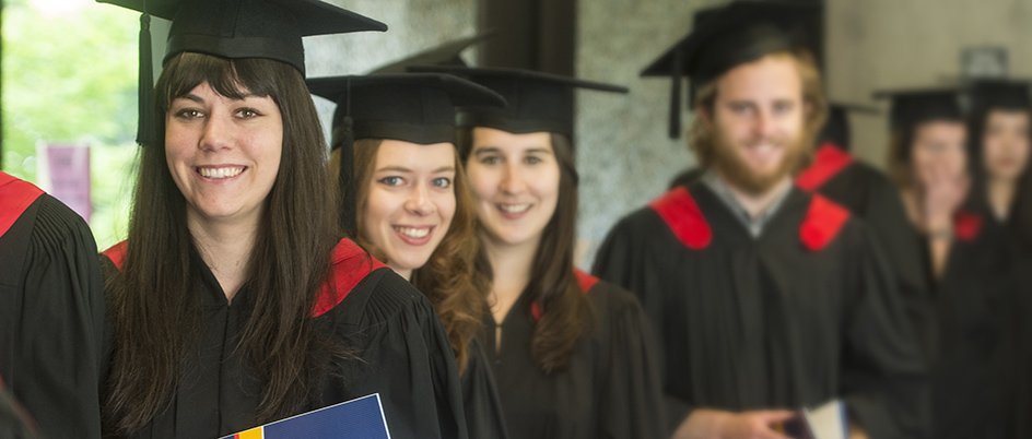 Students in their convocation regalia