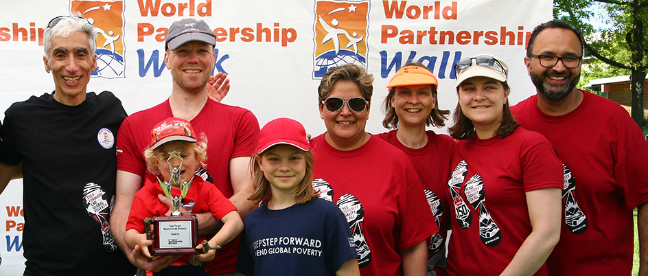 UVic staff and faculty members at a past World Partnership Walk