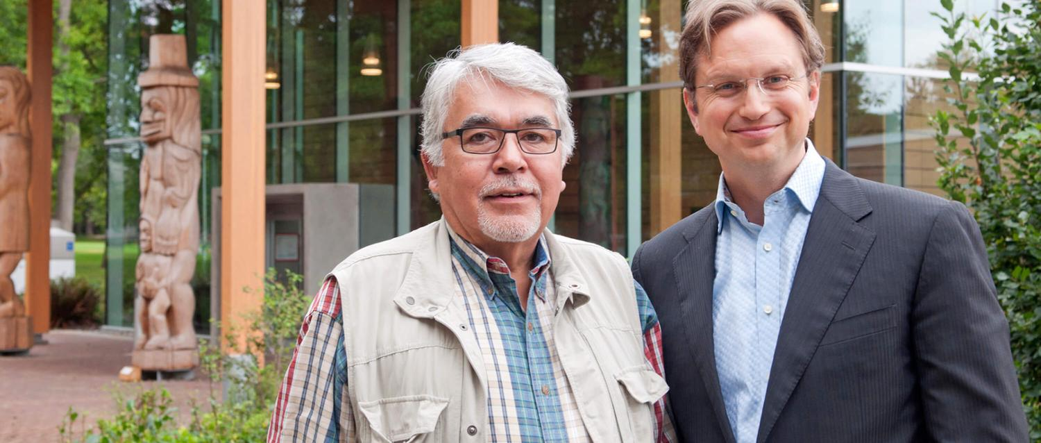 Frank Parnell and Brent Mainprize outside of UVic's First Peoples House