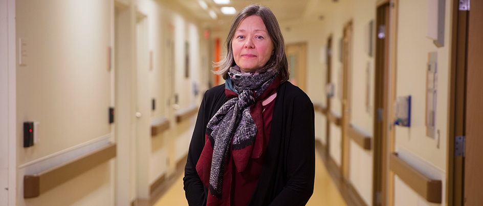 UVic health geographer Denise Cloutier in a hospital hallway