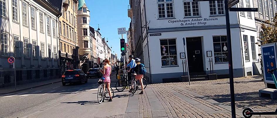 cyclists on a street in Copenhagen