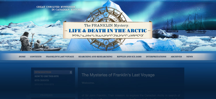 Screenshot of the new Franklin Mystery website