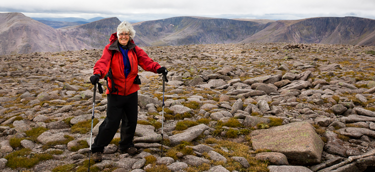 Retired UVic prof Mary Sanseverino hiking