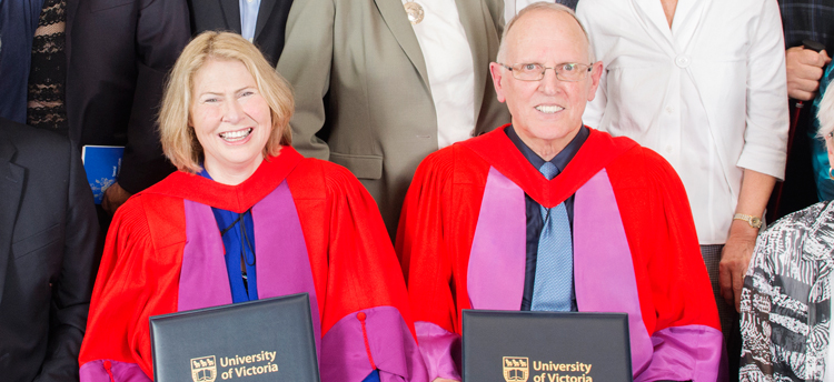 Kathy and Ken Shields accepting their honorary degrees