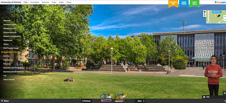 Screencap of the virtual tour showing a student tour guide in front of the library