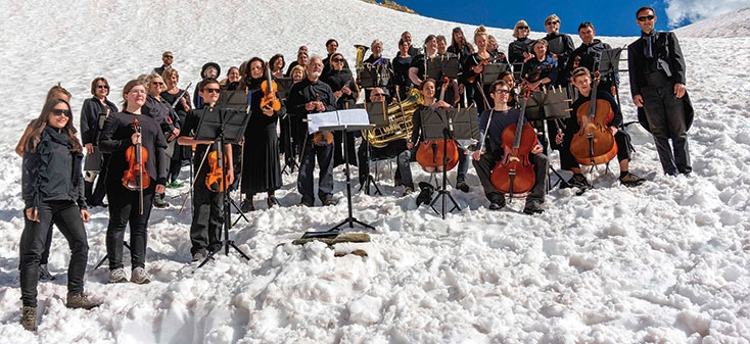 The orchestra on site at Farnham Glacier