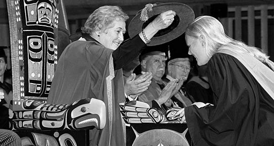 Norma Mickelson, serving as chancellor at a 1997 UVic convocation