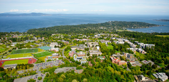 Aerial view of the University of Victoria campus.