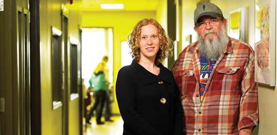 Student Heidi Pelman (left) with Cool-Aid Society outreach worker Larry Stevens (right)