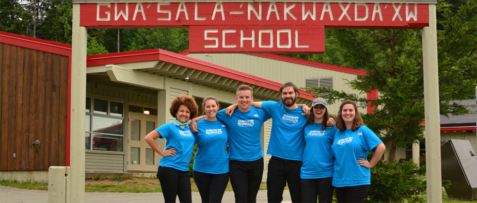 Yamila Franco with her Science Venture co-workers at the Gwa'sala-'Nakwaxda'xw Nations school on the Tsulquate Reserve near Port Hardy, BC