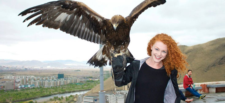 Mishkin with an eagle in Mongolia