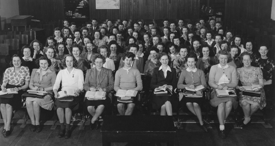 Provincial Normal School girls bowling, 1944-1945
