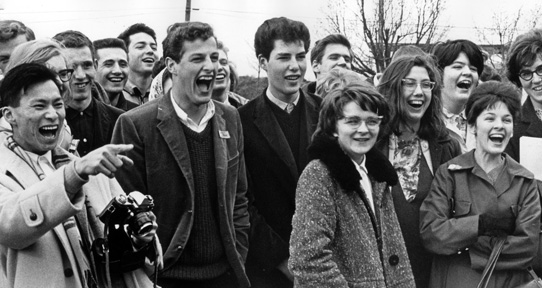 Students laughing, 1966