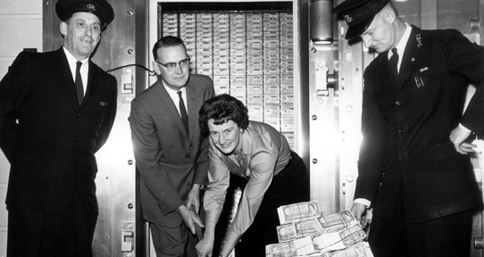 Victoria University Building Fund deposits two million dollars in vault, January 1961