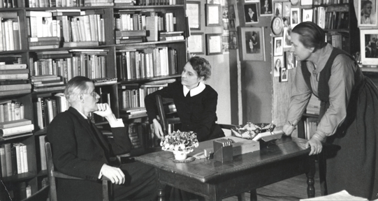 Photograph by Gisele Freund of James Joyce, Sylvia Beach and Adrienne Monnier in Beach's Paris bookstore, Shakespeare and Company.