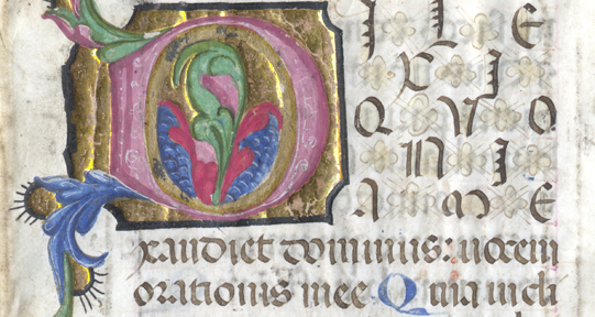 Detail of 15th century fragment from a Book of Hours.