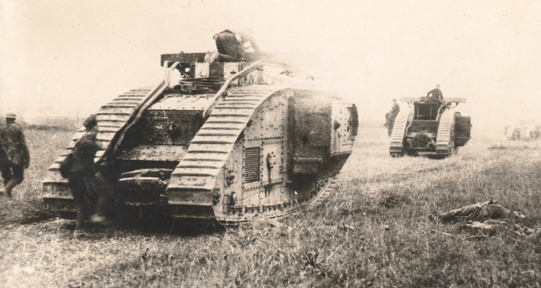 Tanks at Amiens, photograph from the Archie Wills fonds.