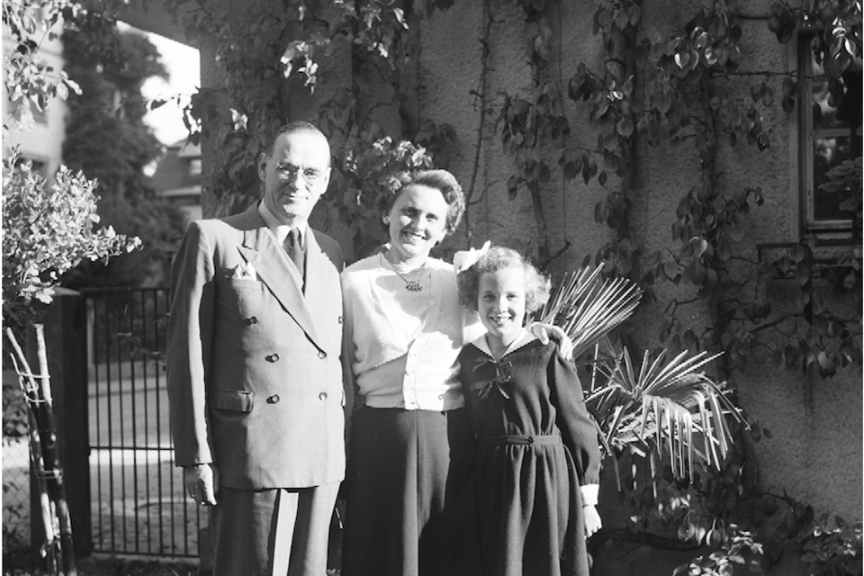 Black and white photo of the Lutz family