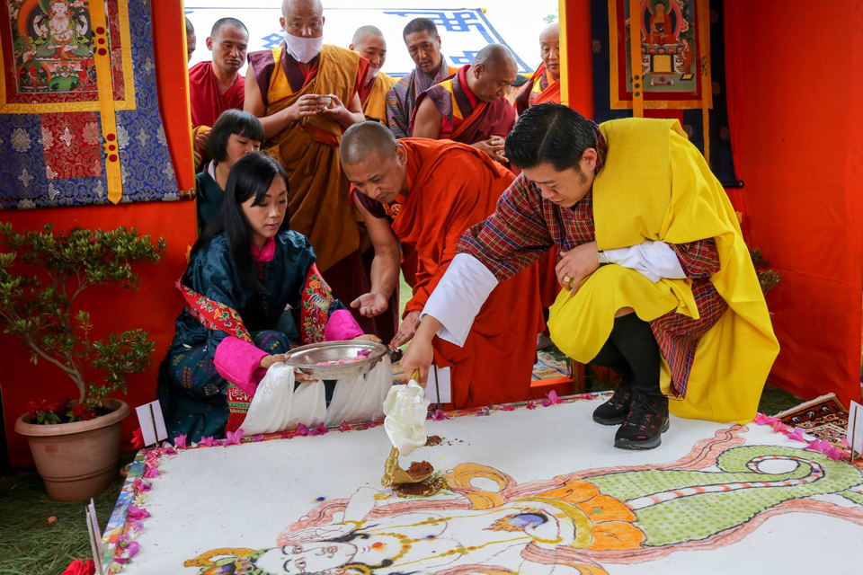 His Majesty The (fifth) King of Bhutan takes part in the ground-breaking ceremony