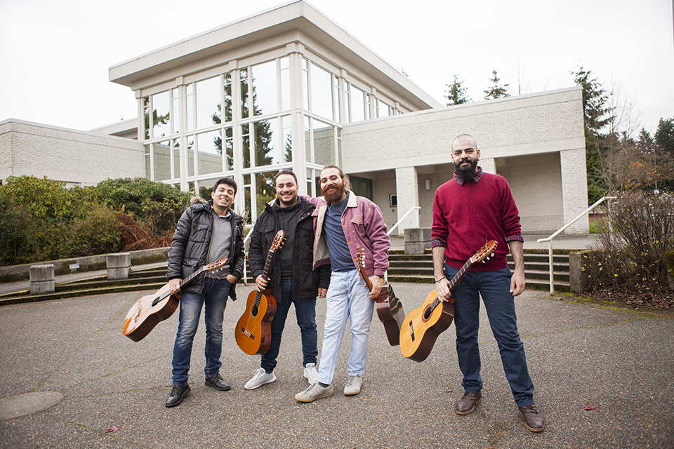 The Orontes Guitar Quartet on the UVic campus