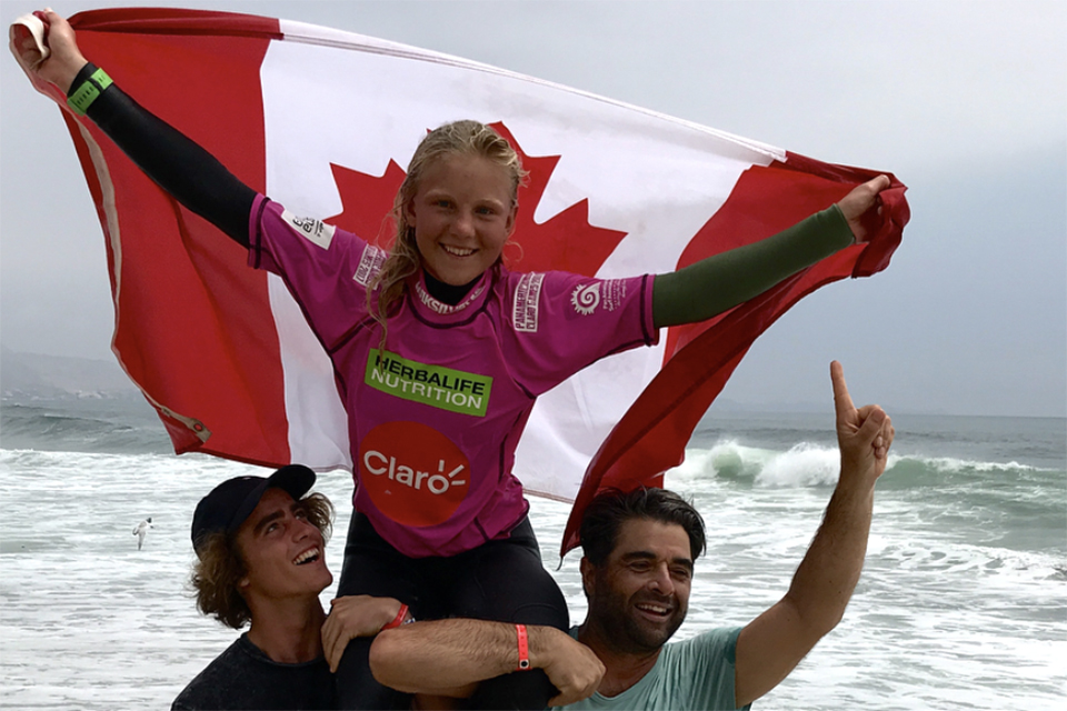 UVic alum Dom Domic with Tofino teen surfing champ Mathea Olin