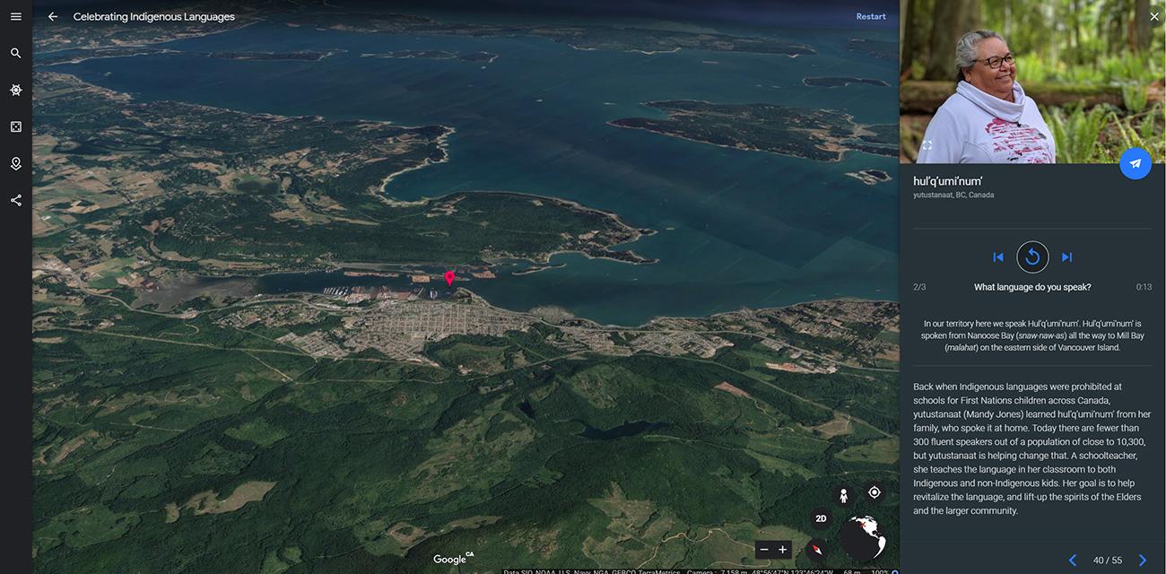 Hul'q'umi'num' language and Google Earth - University of
