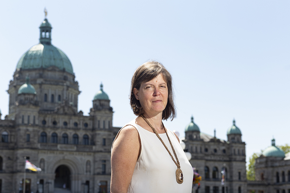 Penny Bryden outside the BC legislature in August 2019.