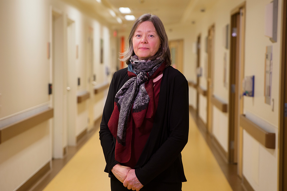 UVic researcher Denise Cloutier in a hospital hallway