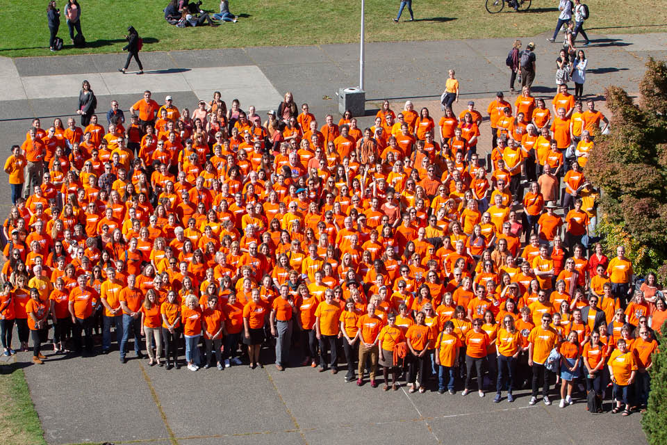 Group photo taken from above of UVic staff and students wearing their orange shirts in 2018