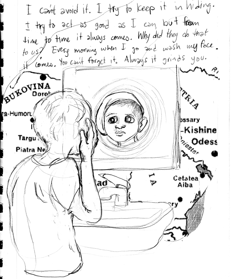 Preliminary sketch by Miriam Libicki, part of graphic novel project