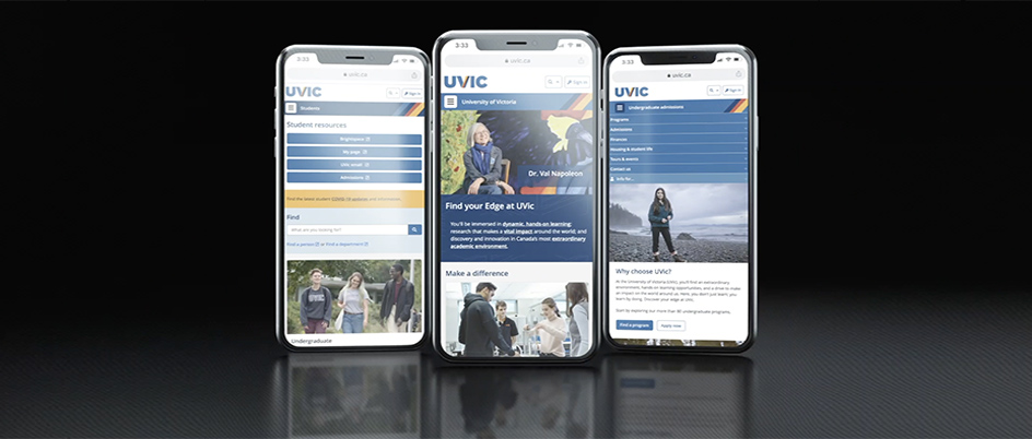 New UVic website shown on a mobile device