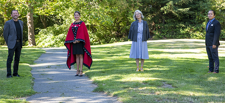 UVic President Jamie Cassels, Professor and Director of the Indigenous law program Val Napoleon and Honourable Minister Melanie Mark
