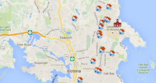 Google map of Victoria showing rental listings from Places4Students comOff campus housing   University of Victoria. Modern Living Standard Furniture Victoria Bc. Home Design Ideas