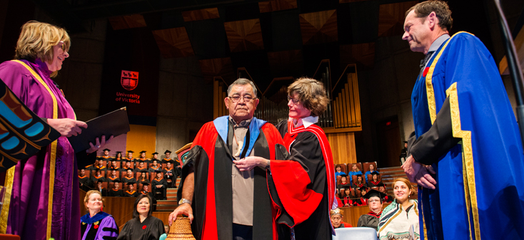 Skip Dick being robed at convocation