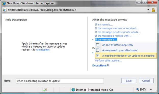 Redirect meeting-related messages: Outlook Web App