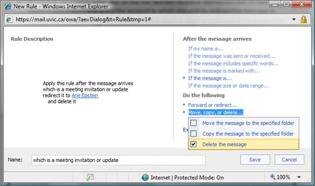 Redirect meeting-related messages: Outlook Web App - University of