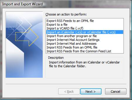 Import an iCal calendar: Outlook 2007 - University of Victoria