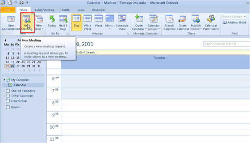 Initiate a meeting: Outlook 2010 and 2013 - University of