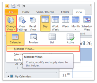 Modify calendar view: Outlook 2010 and 2013 - University of