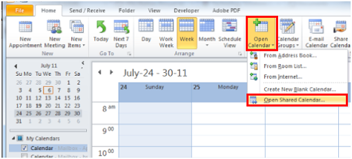 open a shared calendar  outlook 2010 and 2013