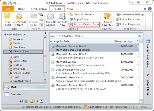 Recover deleted mail items: Outlook 2010 and 2013