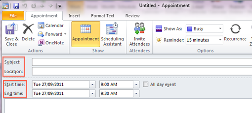 Create a recurring appointment: Outlook 2010 and 2013