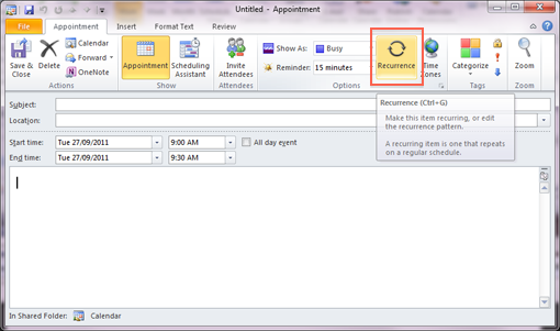 Create a recurring appointment: Outlook 2010 and 2013 - University