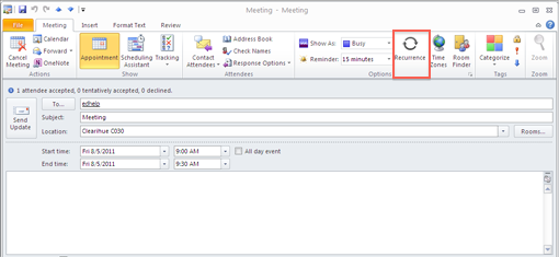 Create a recurring meeting: Outlook 2010 and 2013 - University of