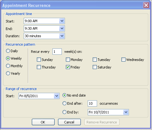 Create a recurring meeting: Outlook 2010 and 2013