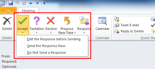Respond to a meeting request Outlook 2010 and 2013 University of